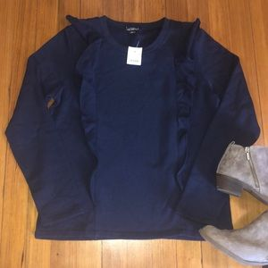 Brand new! J. Crew ruffle trimmed pullover